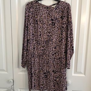 H&M size 14 violet and gold animal print dress